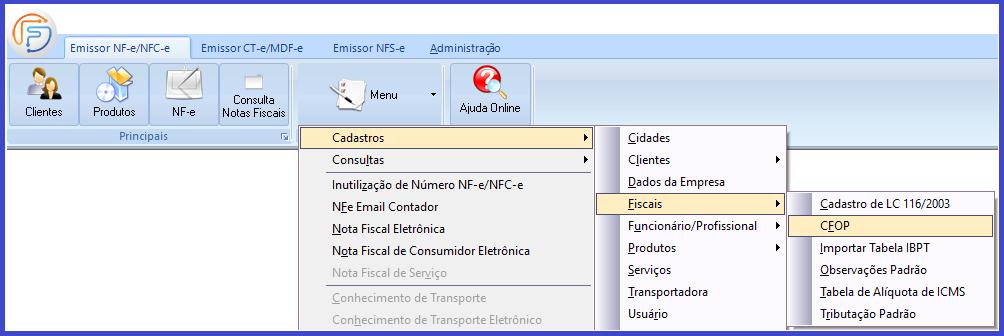 Como emitir a Nota Fiscal Eletrônica - NFe? menu cfop